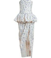 gwen floral tile peplum dress