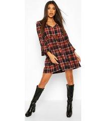 flannel v neck flute sleeve smock dress, rust
