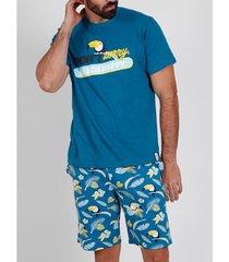 pyjama's / nachthemden admas for men pyjamashort t-shirt tucan blauw admas
