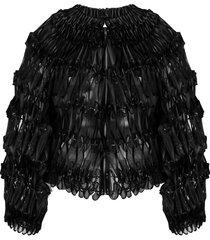 comme des garçons noir kei ninomiya ribbon embellished bomber jacket -
