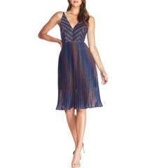women's dress the population haley metallic stripe v-neck cocktail dress