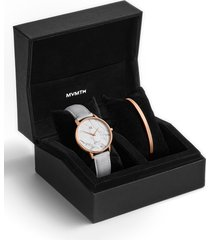 mvmt boulevard beverly marble leather strap watch & cuff bracelet set, 38mm