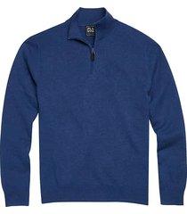 jos. a. bank traveler men's dark blue modern fit 1/4 zip pima cotton sweater - size: small