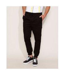 calça de sarja masculina jogger skinny com cordão preta