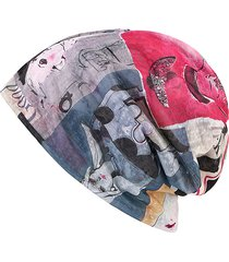 berretto beanie con stampa antiventoso sciarpa ad anello