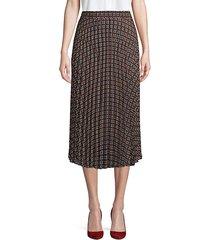 printed pleated midi skirt
