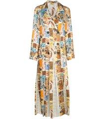 oscar de la renta patchwork floral duster coat - neutrals