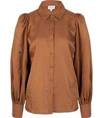 blouse met ballonmouwen mauri  bruin