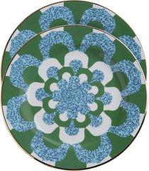 la doublej conjunto com 2 pratos de sobremesa mosaico - verde