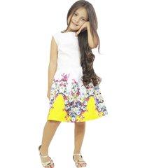 vestido blanco con amarillo vt-00205
