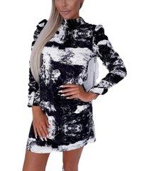 ax paris women's printed ruched sleeve shift dress