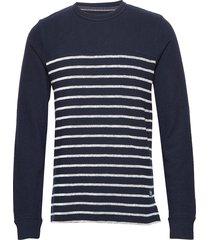 jprdenim stripe blu. sweat crew neck sweat-shirt tröja blå jack & j s