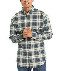 wolverine men's fr plaid long sleeve twill shirt dark navy plaid, size xxl