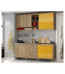 cozinha compacta completa multimóveis com 4 peças sicília 5818 argila/amarelo