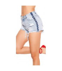 sexy jeans shorts gebruikte used look met parels jeansblauw