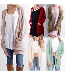5 color women's fashion solid long sleeve winter warm hot sale knitted cardigan