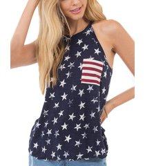 camiseta sin mangas con estampado de estrellas y lazo azul marino diseño halter