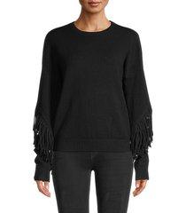 rd style women's tassel crewneck sweater - black - size m