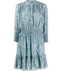 rebecca minkoff floral print flared dress - blue