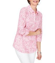 women's foxcroft zoey leopard print seersucker shirt, size 12 - pink