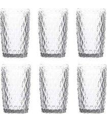 conjunto de 6 copos alto em vidro bico de abacaxi 330ml lyor