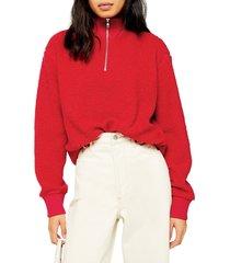 women's topshop half zip funnel neck sweatshirt