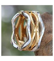 gold accent band ring, 'ocean waves' (indonesia)