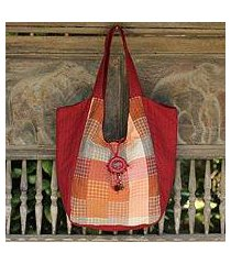 cotton tote bag, 'red bohemian' (thailand)