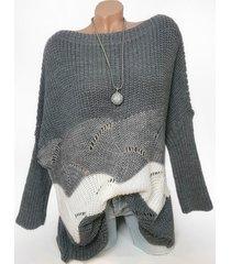 plus size colorblock drop shoulder open knit sweater