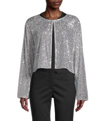st. john women's starlight sequin-embellished cropped cardigan - silver - size s