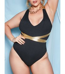 matallic criss cross ribbed plus size one-piece swimsuit