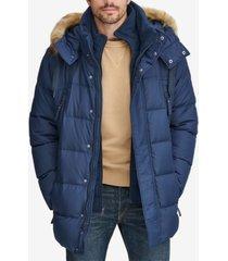 marc new york men's long snorkel down coat with faux-fur trim