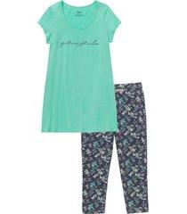 pigiama con leggings a pinocchietto (verde) - bpc bonprix collection