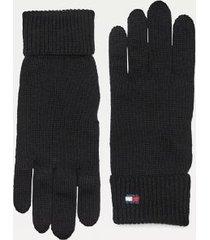 tommy hilfiger women's classic cotton gloves black -