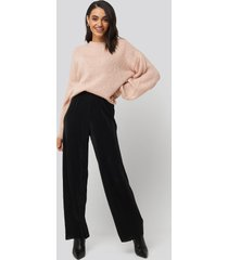 na-kd wide pleated pants - black
