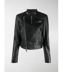 dsquared2 quilted panel biker jacket