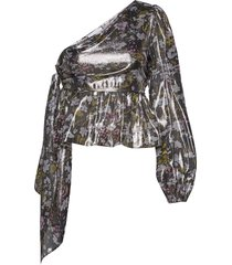 lurex silk blouse lange mouwen zwart ganni