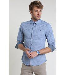camisa jeans masculina slim com bolsos manga longa azul médio