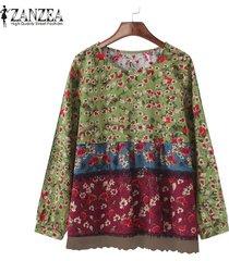 zanzea impresa flor superior o las mujeres de cuello camisa de manga remiendo del largo de la blusa verde -verde