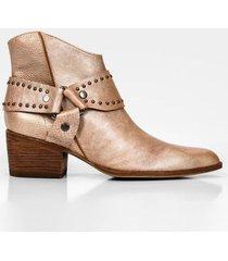 botines tacón de cuero perlado western
