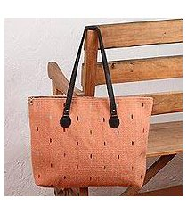 leather accent zapotec wool tote, 'peachy rainbow' (mexico)