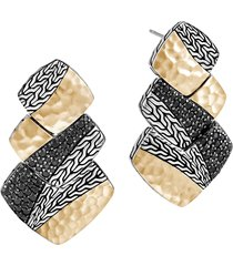 john hardy classic chain hammered 18k gold & silver drop earrings in silver/gold at nordstrom