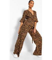 geweven luipaardprint wide leg wikkel jumpsuit