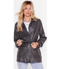 the belt one yet faux leather jacket