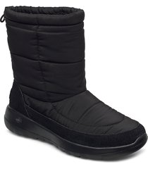 womens on-the-go joy stay cozy shoes boots ankle boots ankle boot - flat svart skechers