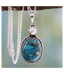 sterling silver pendant necklace, 'blue visions' (india)
