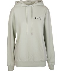 off-white woman oversize light green hoodie with black logo