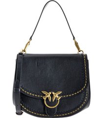 pinko love go-round big soft black crossbody bag