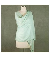 wool and silk blend shawl, 'aqua mist' (india)
