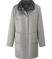 keerbare lange jas met staande kraag van basler grijs